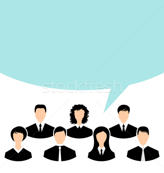 Unity of business people team with speech bubble Stock photo © smeagorl