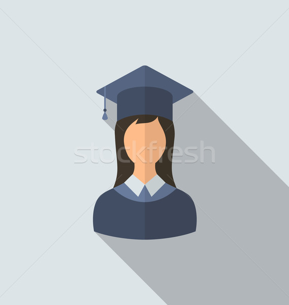 Flat icon of female graduate in graduation hat, minimal style wi Stock photo © smeagorl