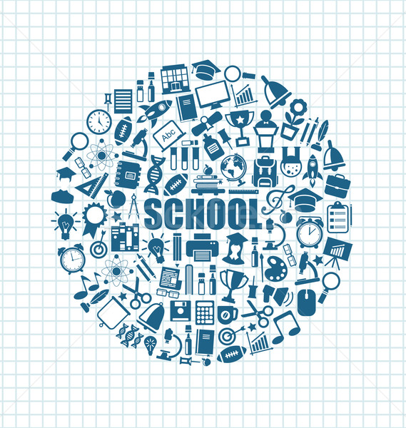 Set of School Icons, Back to School Objects Stock photo © smeagorl