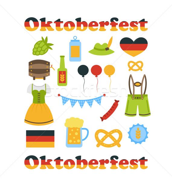 Oktoberfest coloré symboles isolé illustration blanche Photo stock © smeagorl