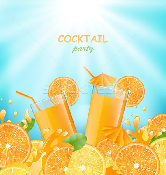 Abstract banner cocktail party illustratie sinaasappelen Stockfoto © smeagorl