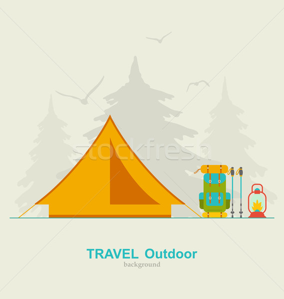 Travel Camping Background with Tourist Tent, Backpack, Lantern and Trekking Pole Stock photo © smeagorl