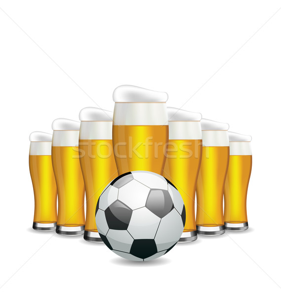 Glasses of Beer and Soccer Ball Stock photo © smeagorl