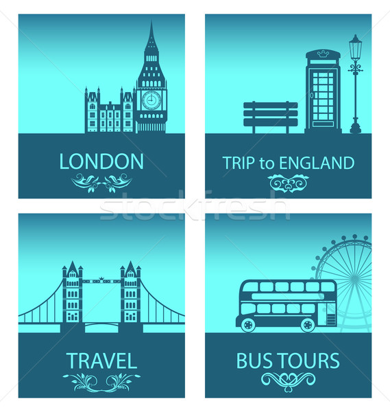 Abstract Postcards for Trip Of England with Silhouette Background of Abstract London Skyline Stock photo © smeagorl