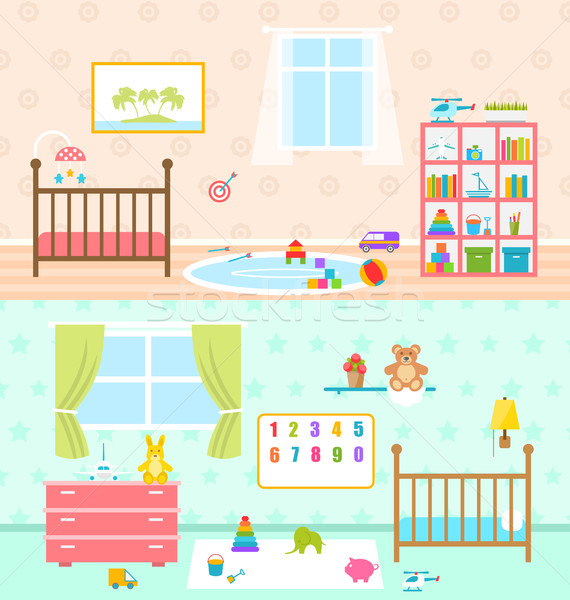 Set Playrooms for Kids. Baby Rooms Interior Stock photo © smeagorl