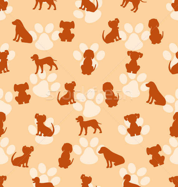 Seamless Pattern with Different Breeds of Dogs, Texture with Silhouettes Canines Stock photo © smeagorl