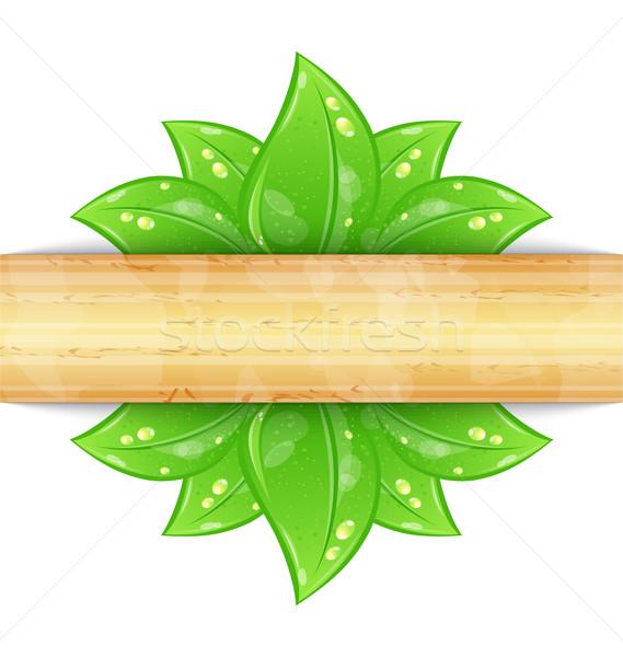 Környezetbarát zöld levelek fából készült textúra illusztráció fa Stock fotó © smeagorl