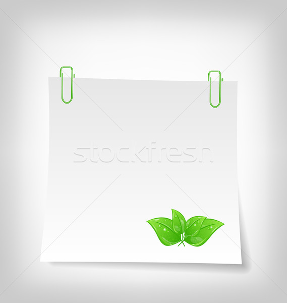 blank note paper with green leaves, isolated on white background Stock photo © smeagorl