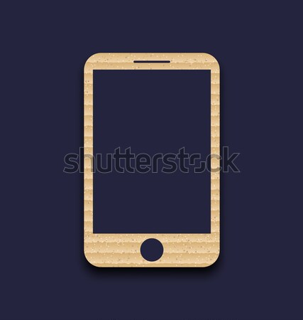 Abstract carton paper mobile phone with shadow, isolated on dark Stock photo © smeagorl
