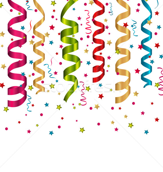 Confetti holiday background with set colorful paper serpentine Stock photo © smeagorl