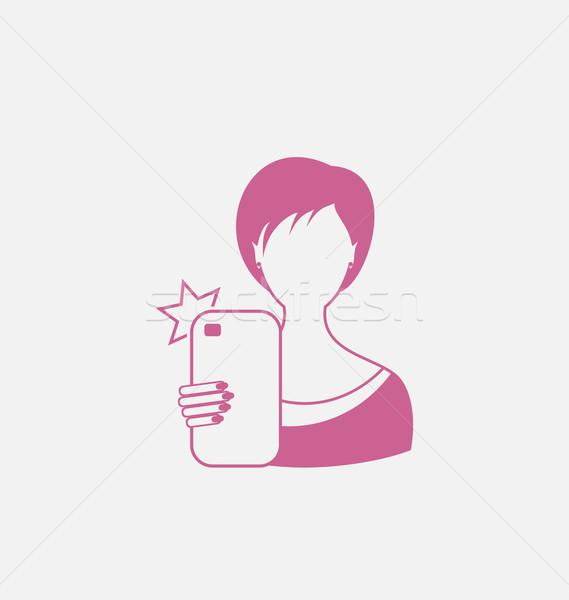 Logo Icon of Selfie Girl, Isolated on White Background Stock photo © smeagorl