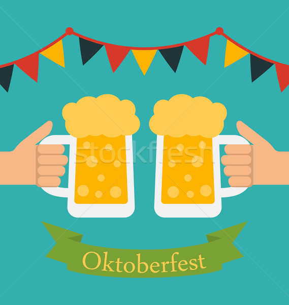 Advertise Flyer with Decoration for Oktoberfest Stock photo © smeagorl