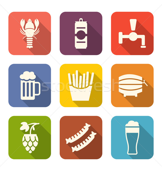 Group Minimal Colorful Icons of Beers and Snacks Stock photo © smeagorl