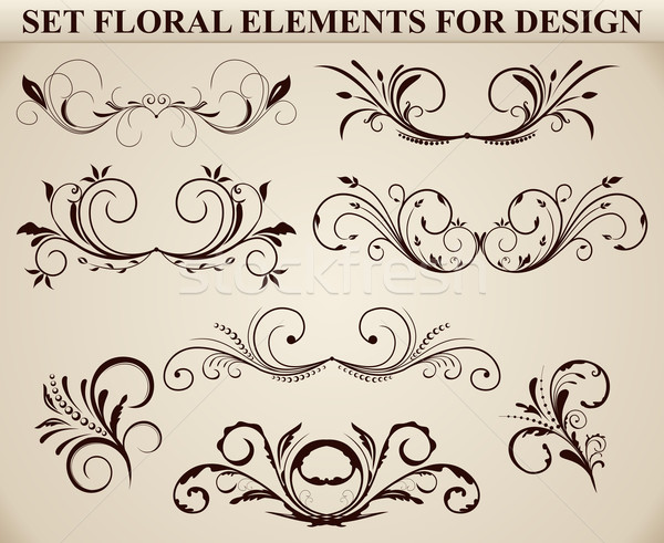 Stock photo: Set of ornate floral element