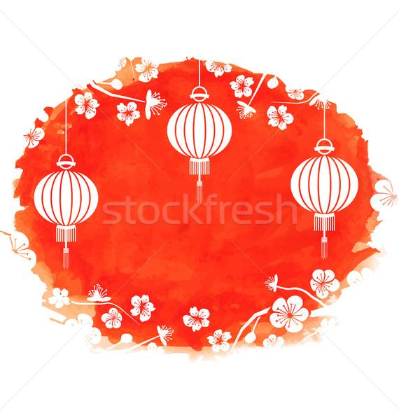 Aquarel bloesem sakura bloemen lantaarns illustratie Stockfoto © smeagorl