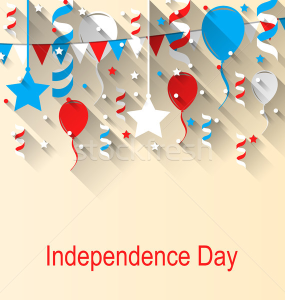 Greeting Card for American Independence Day, 4th of July, Colorful Bunting, Balloons and Confetti Imagine de stoc © smeagorl