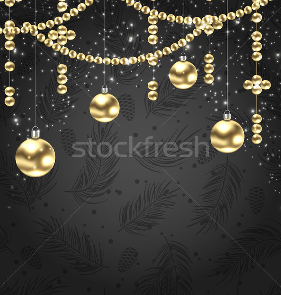 Christmas Golden Balls and Adornment on Black Background Stock photo © smeagorl