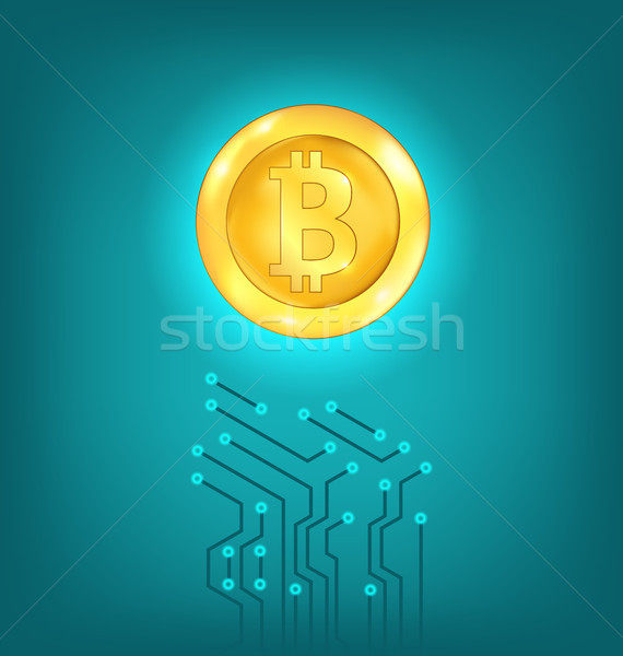 Circuit Background Design, Make Crypto Currency, Bitcoin, Virtual Money Stock photo © smeagorl