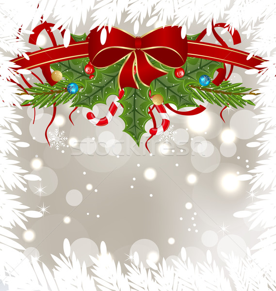 Christmas frosty card with holiday decoration Stock photo © smeagorl
