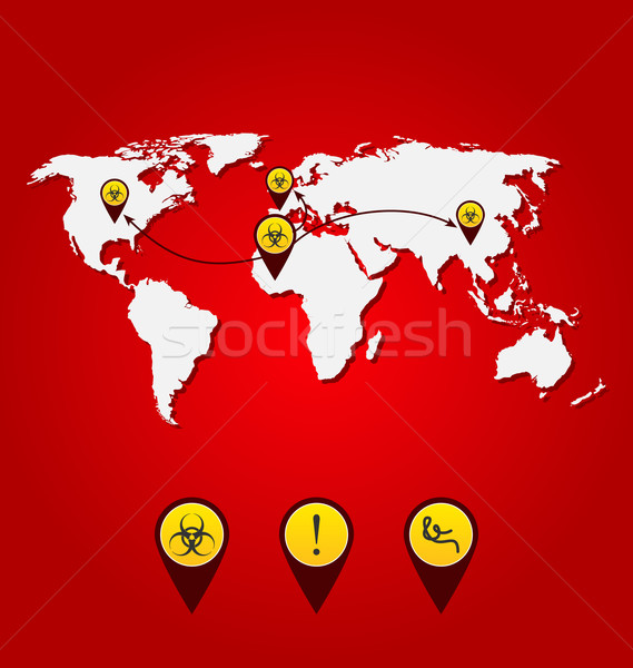 Virus Ebola outbreak, world map of spreading with bio hazard sig Stock photo © smeagorl