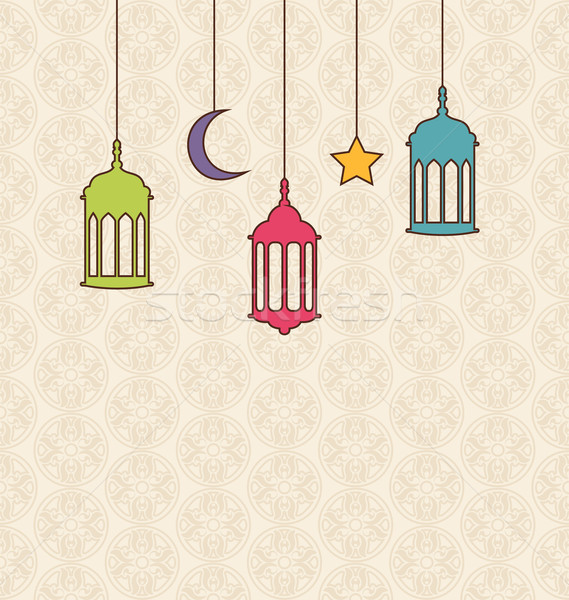 Islamic Background with Arabic Hanging Lamps for Ramadan Kareem Stock photo © smeagorl