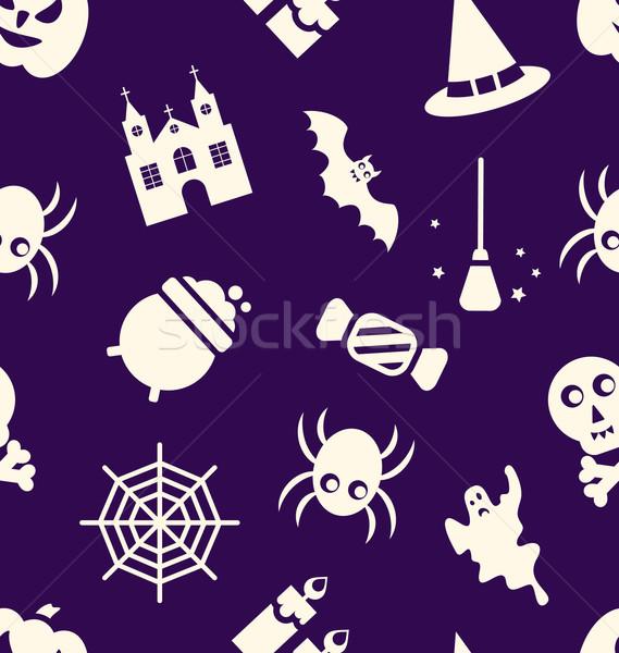 Foto d'archivio: Halloween · illustrazione · tradizionale · elementi · texture