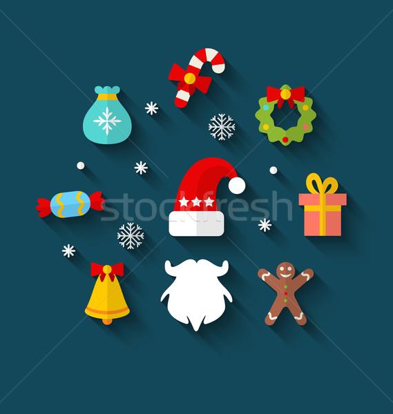 Año nuevo colorido simple iconos ilustración minimalismo Foto stock © smeagorl
