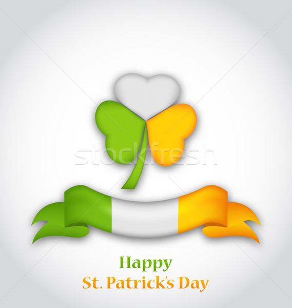 shamrock and ribbon in traditional Irish flag colors for St. Pat Stock photo © smeagorl