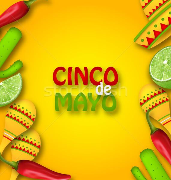 Majonéz mexikói hagyományos szimbólumok illusztráció chilipaprika Stock fotó © smeagorl
