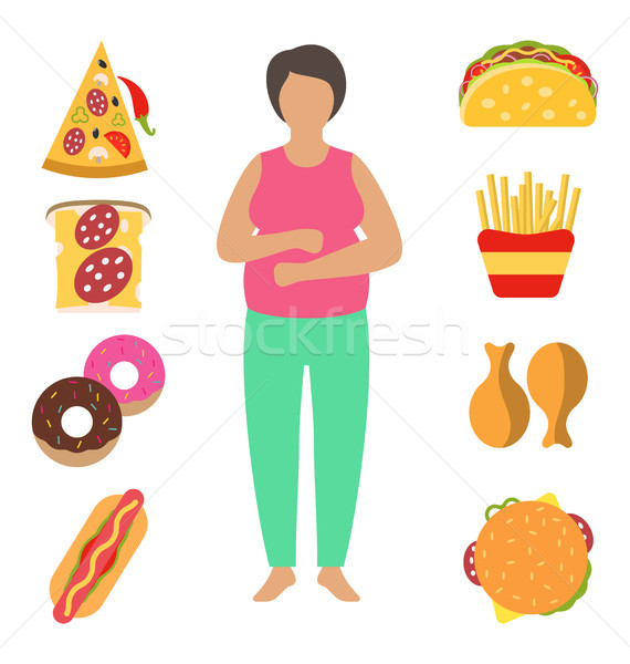 Fat Woman. Problem with Excess Weight Due to Wrong Diet. Fast Food Obesity Stock photo © smeagorl