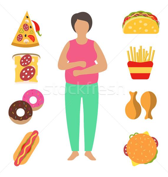 Fett Frau Problem Gewicht falsch Stock foto © smeagorl