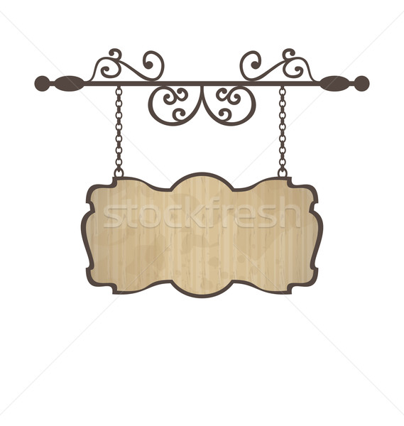 Wooden sign with place for text, floral forging elements Stock photo © smeagorl