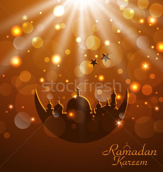 Celebration glowing card for Ramadan Kareem Stock photo © smeagorl