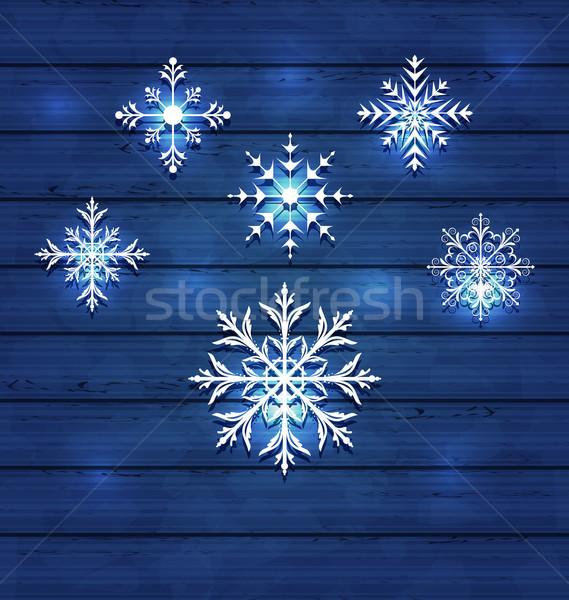 Noël variation flocons de neige bois illustration Photo stock © smeagorl