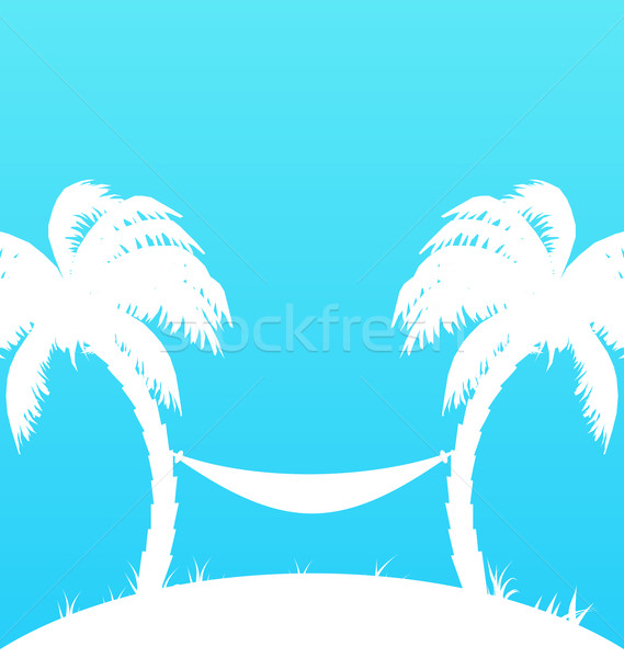 Tropical paradise background with palm trees and hammock Stock photo © smeagorl
