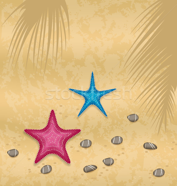 Sand background with starfishes and pebble stones Stock photo © smeagorl