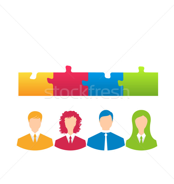 team of business people with jigsaw puzzle pieces as a solution  Stock photo © smeagorl