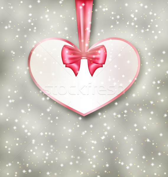 Greeting paper card made of heart shape Valentine Day Stock photo © smeagorl