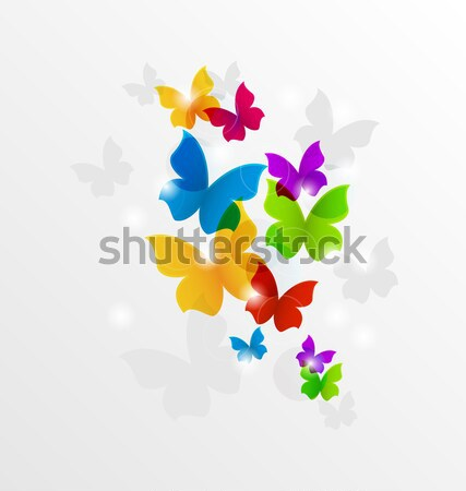 Stock photo: Abstract hand-drawn watercolor butterflies for Valentines Day, c
