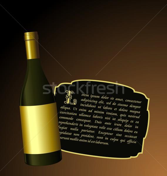 Illustration the elite wine bottle with white gold label Stock photo © smeagorl