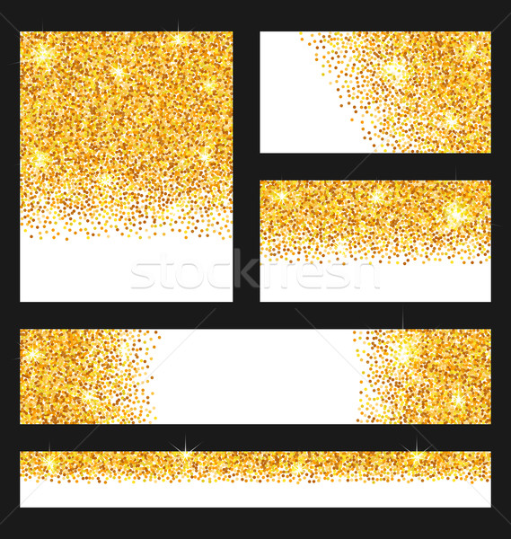 Set of Glitter Cards. Golden Surface. Copy Space for Your Text Stock photo © smeagorl