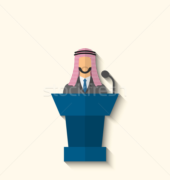 Arabic Businessman Orator in Keffiyeh Speaking From Rostrum Stock photo © smeagorl