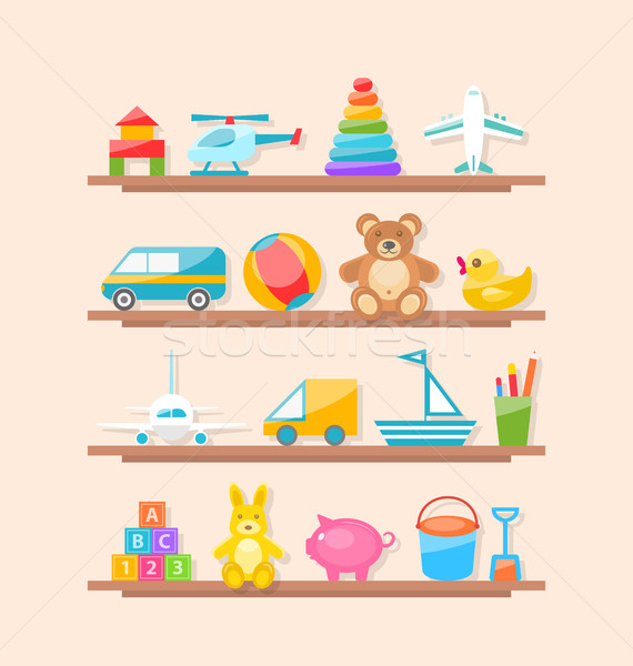商业照片: 集· 孩子 · 玩具 ·架· 漫画