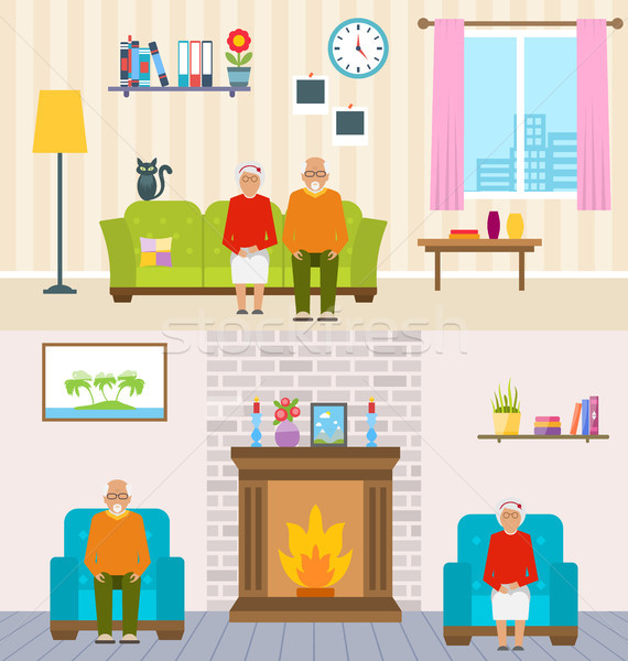 Old People Home Interior Background. Aged Characters, Household Furniture, Pension Stock photo © smeagorl
