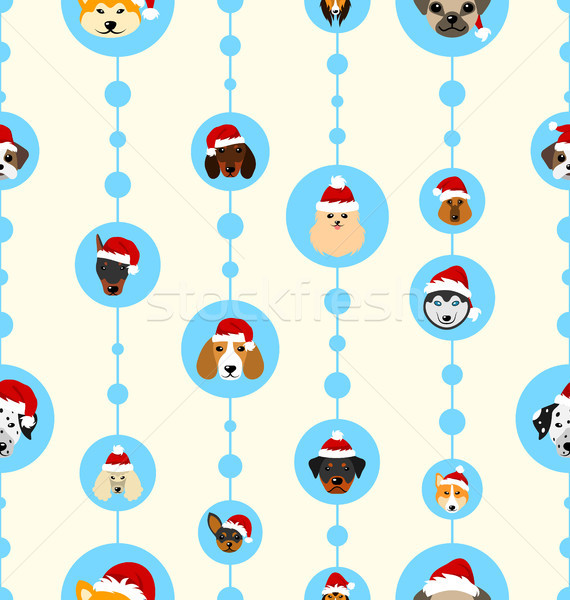 Bezszwowy tapety psów Święty mikołaj szczęśliwego nowego roku Zdjęcia stock © smeagorl