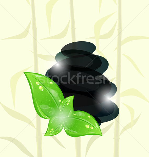 Meditative bamboo background with cairn stones and eco green lea Stock photo © smeagorl