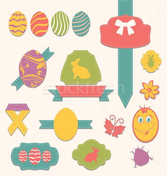 Easter scrapbook set - labels, ribbons and other elements (2) Stock photo © smeagorl
