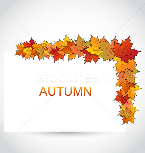 Colorful Autumn Maple Leaves with Note Paper Stock photo © smeagorl
