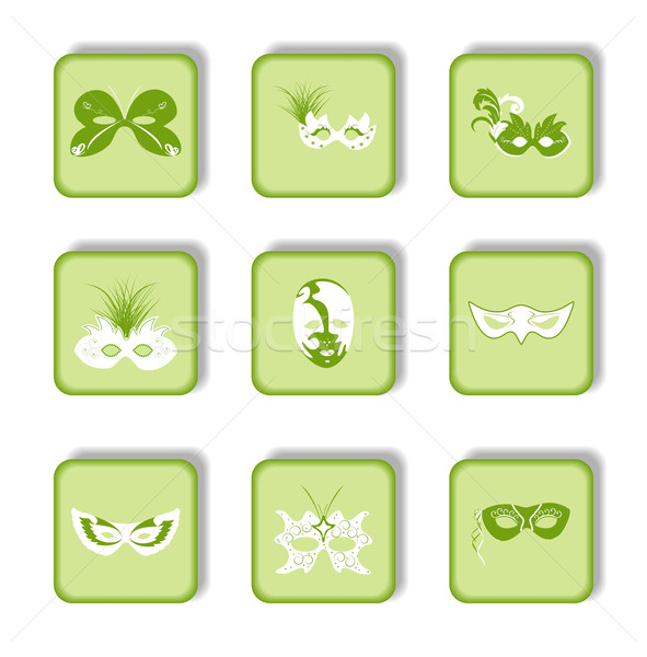 Set icon of carnaval mask Stock photo © smeagorl