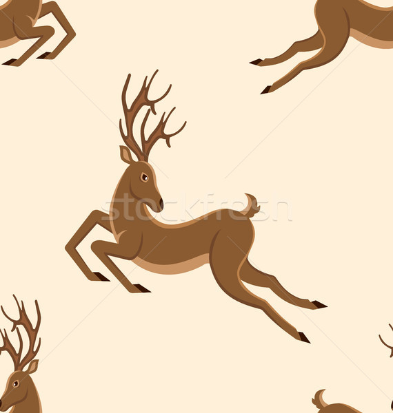 Seamless Pattern with Jumping Deers, Retro Texture with Moving Stags Stock photo © smeagorl
